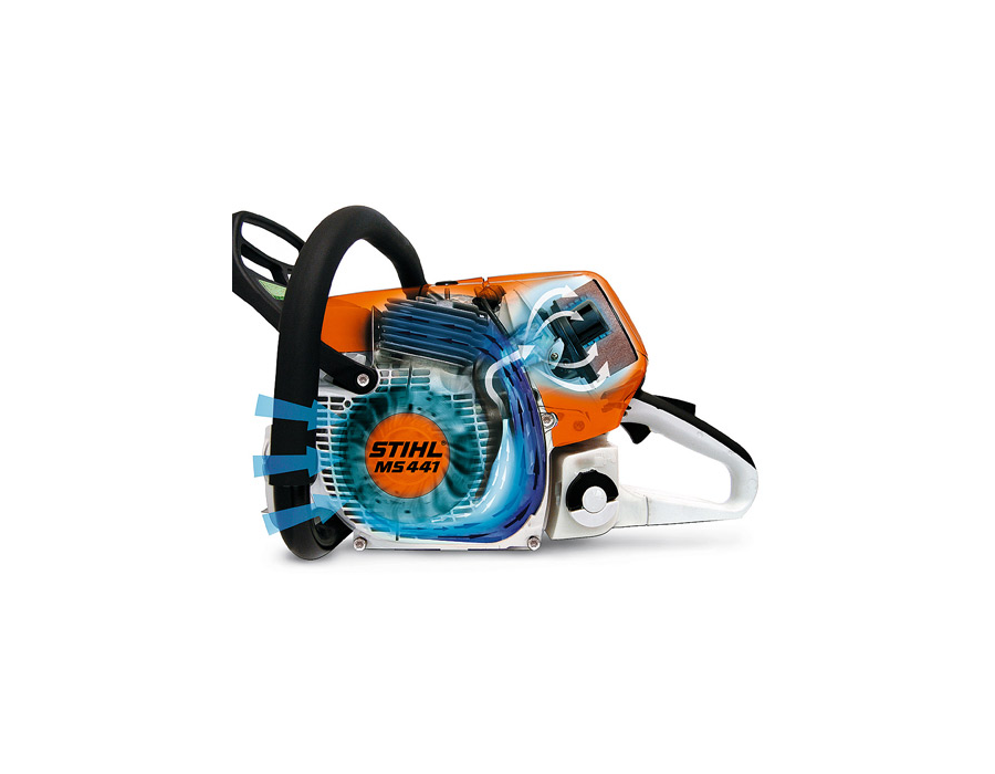 STIHL long-life air filtration systems with pre-separation achieve perceptibly longer filter life compared with conventional filter systems