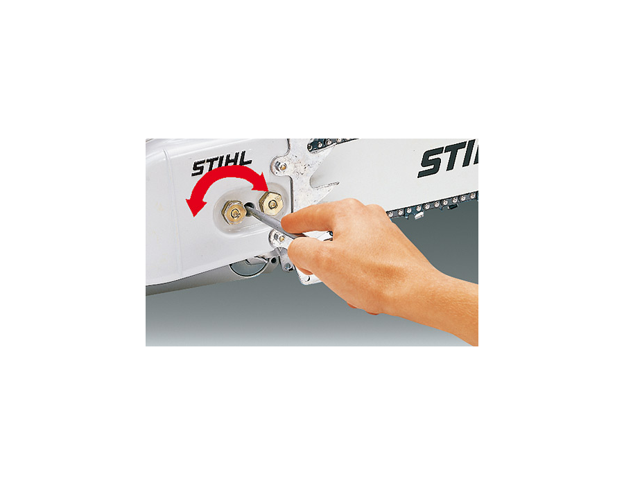 The tensioning screw can be found on the side of chain saw through the sprocket cover. This removes the need for contact with the sharp saw chain.