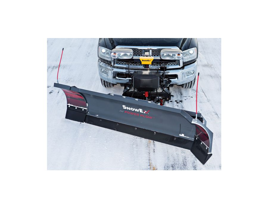 When angled for windrowing, the leading wing directs more snow into the moldboard to eliminate spill-off.