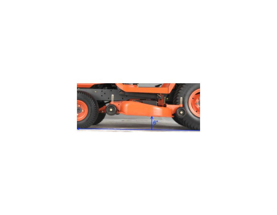 All BX Models offer a clearance of 6 inches under the mower deck when in the fully raised position.