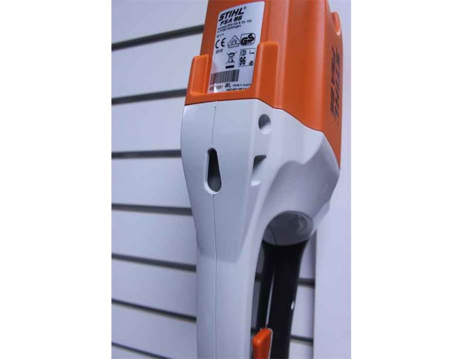 Hang your cordless trimmer securely on a wall to save space using the loop in the handle housing.