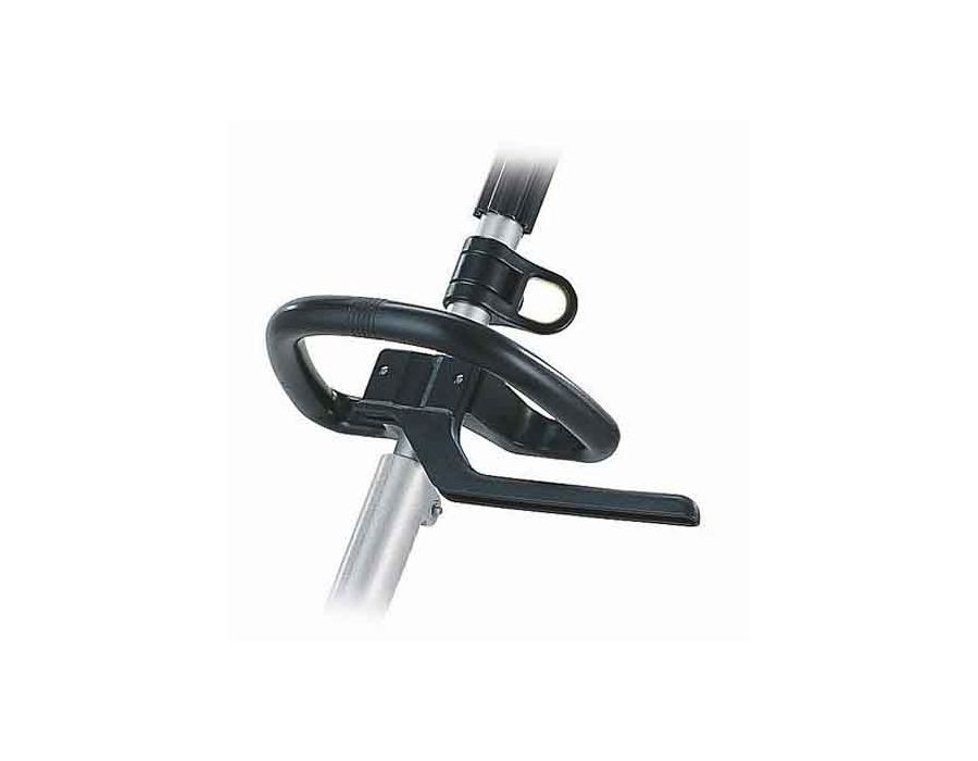 The loop handle is an adjustable rounded handle mounted on the shaft for support and control. The handle is designed to help control the machine in different positions, ideal for reaching tough spots.