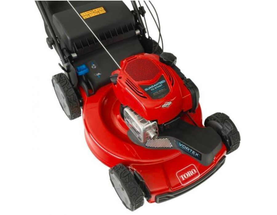 Toro 21472 Mower with High rear wheels and all wheel drive. Recoil start