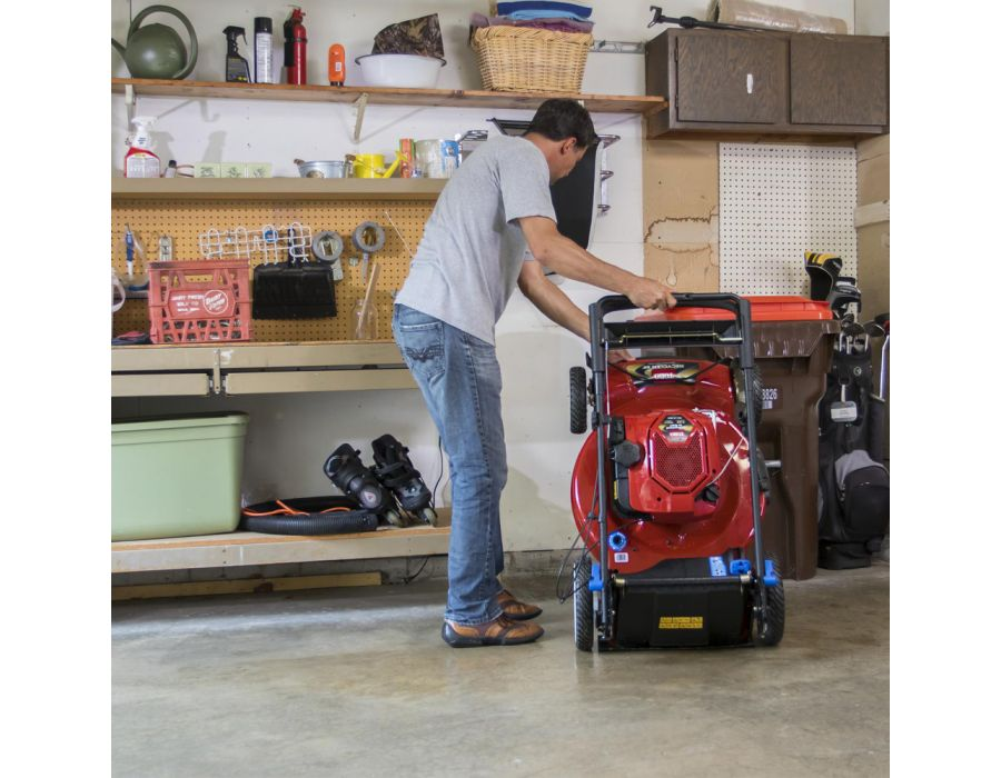 Breakthrough Mow 'n' Stow™ engine technology by Briggs & Stratton® allows the mower to be stored upright, reducing the storage footprint by up to 70%