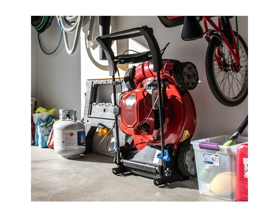 Breakthrough engine technology from Briggs & Stratton® allows this Toro mower to be stored upright with no fuel or oil leaks! Mower stores upright, reducing the storage footprint needed by up to 70%!
