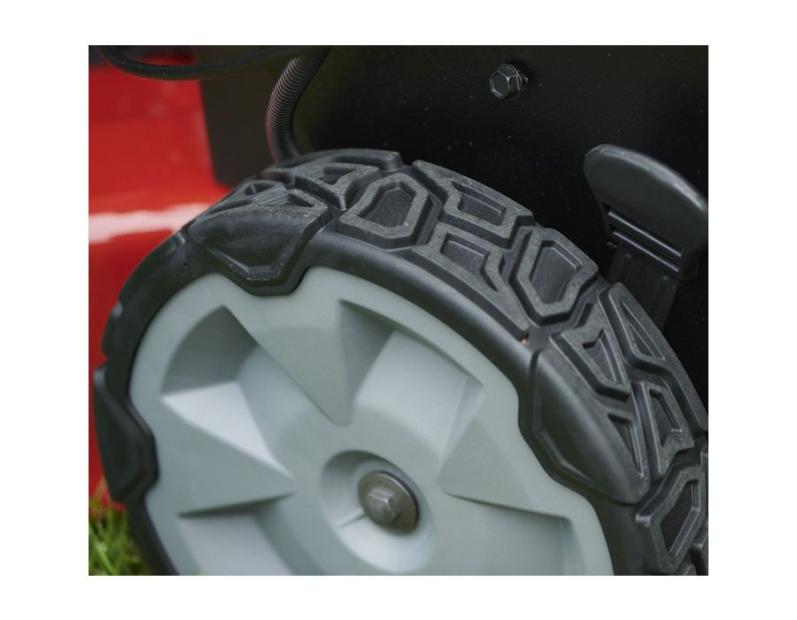 Roll With It - With a tread pattern that adds traction without tearing up your grass, Toro's new wheels give you just enough bite to get up hills and sail through slippery, damp conditions.