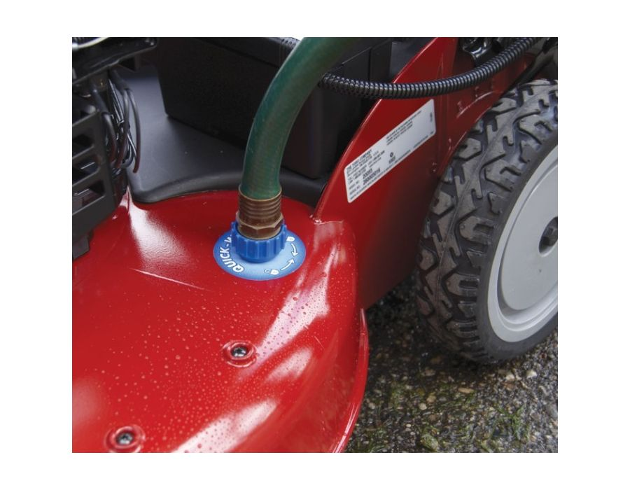 The deck washout port is a convenient way to clean the bottom of the deck - maintaining optimum airflow for high performance.