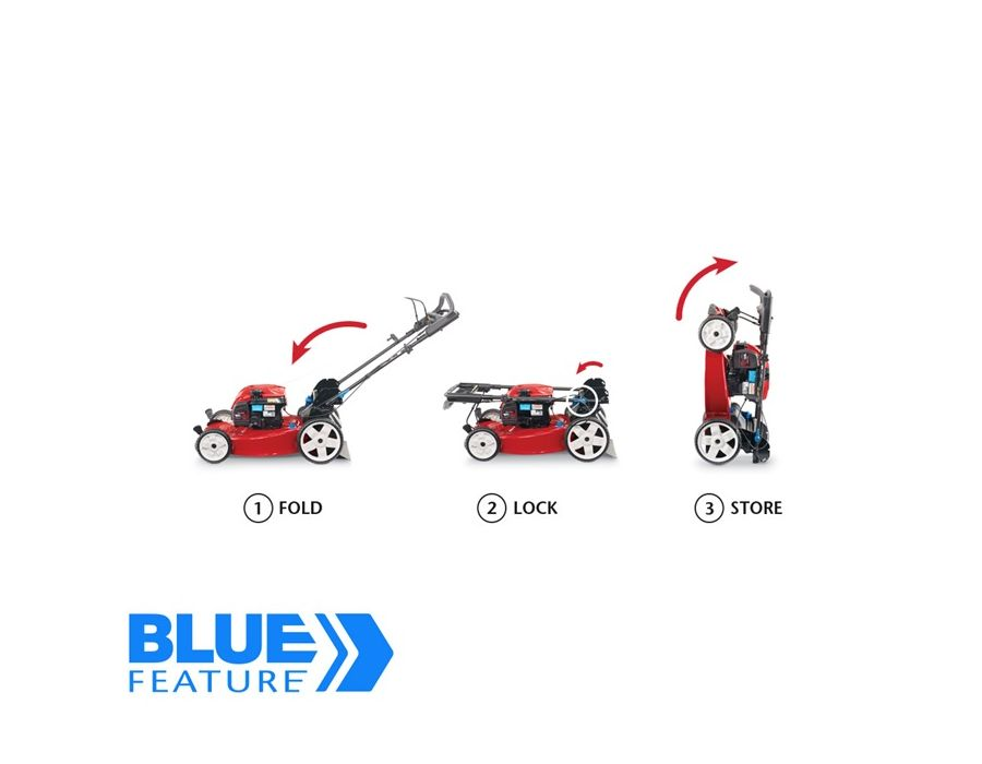 Save up to 70%* floor space by storing the mower upright, with no fuel or oil leaks.