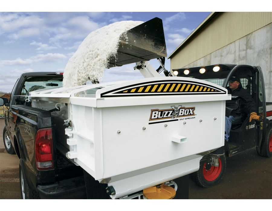 This bulk salt spreader has the lowest profile on the market, even small loaders have to trouble dumping into the BuzzBox
