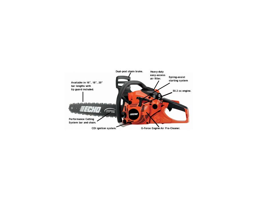 ECHO CS-500P chain saw with descriptions