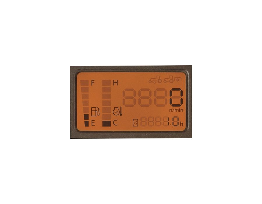 Large numbers, the easy-to-read dash panel lets you quickly monitor vital tractor functions such as engine speed, engine temperature, fuel level, etc