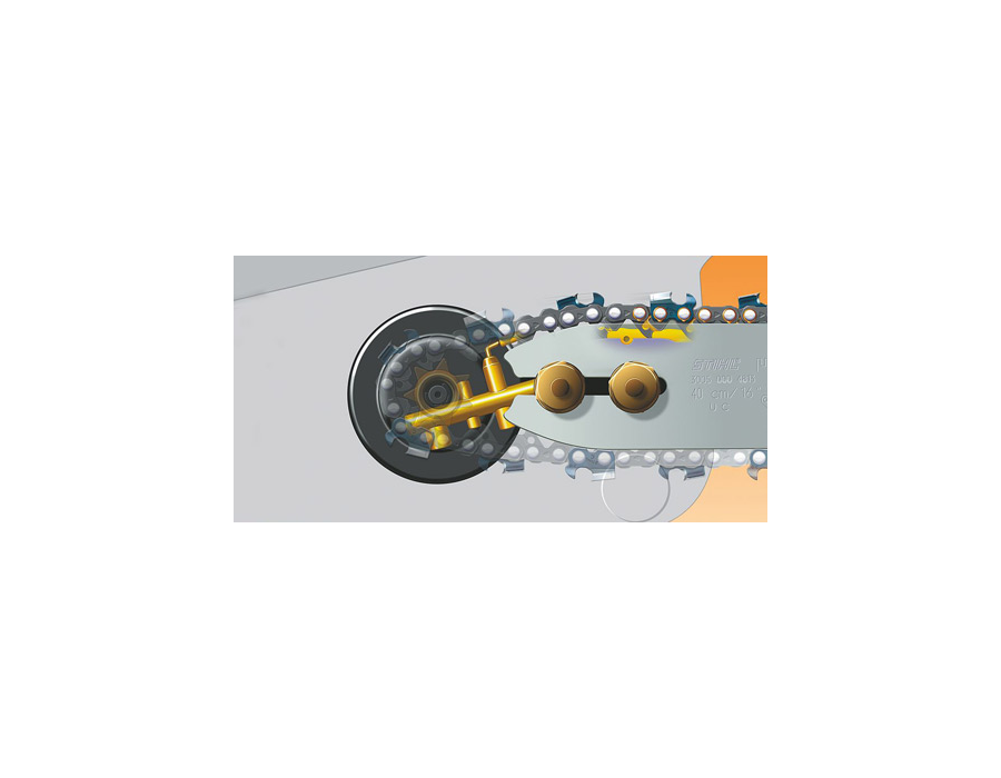 The Ematic chain lubrication system ensures pinpoint lubrication of the saw chain links and guide bar rails