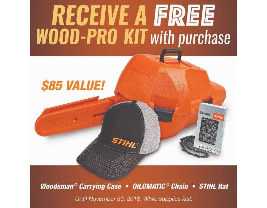 Receive a free Wood Pro Kit with the purchase of a STIHL MS 170 Chainsaw until November 30 2018