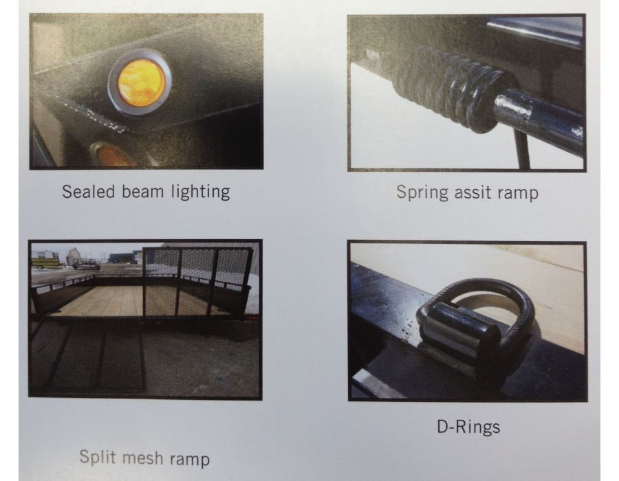 sealed beam lighting, spring assist ramp, split mesh ramp, D-rings