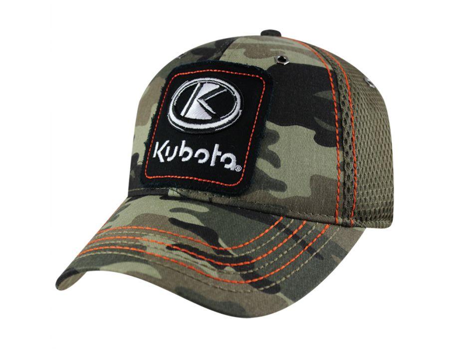 5655beddff5 Kubota Frayed Applique Camo Mesh Back Hat