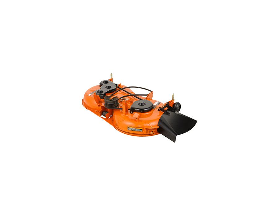 "Kubota 3-in1 Infinity Mower Deck with counter rotating figure eight grass flow can change cutting modes without having to change blades. The secret behind the deck is its steel ""gate"" that slides to cover the discharge area, quickly turning into a mulchin"