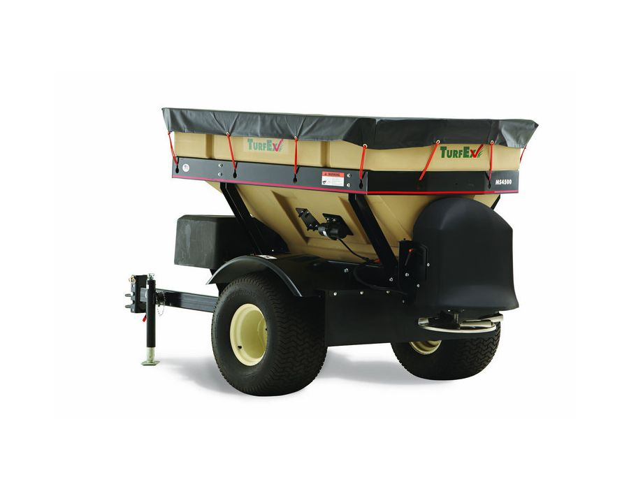 the MS4500 tow behind spreader exerts low pressure to the ground, thanks to its large turf tires and lightweight construction