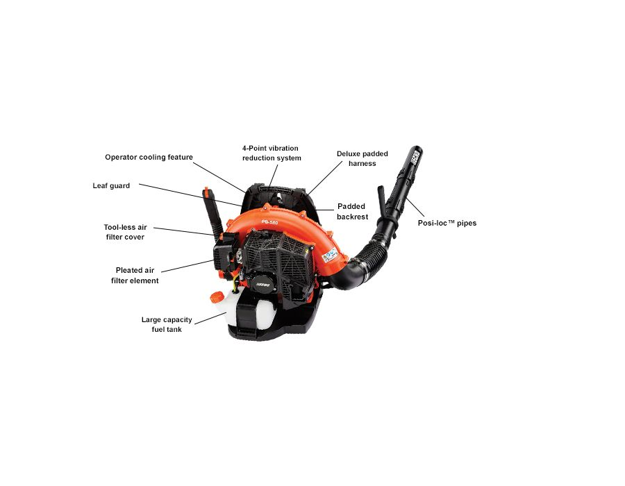 ECHO PB580H backpack blower with specs