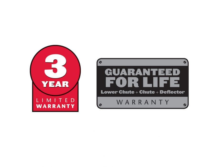 3-year Limited Warranty and Deflector, Lower Chute, Chute Warranty Guaranteed for Life.