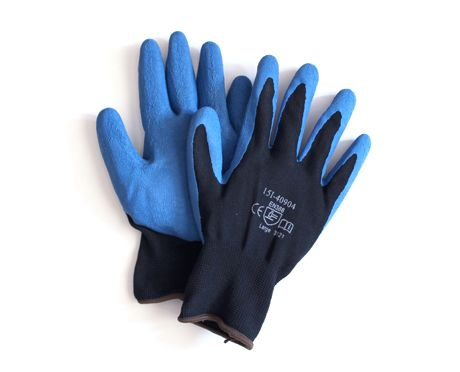 Black/Blue Rubber Work Gloves