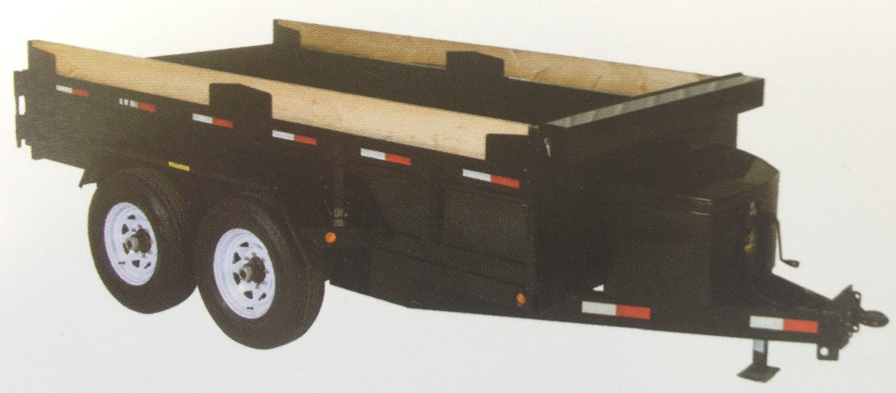 Medium Duty Dump Tandem Trailer MDD610 by JDJ (6' W x 10' L) with 3' high sides