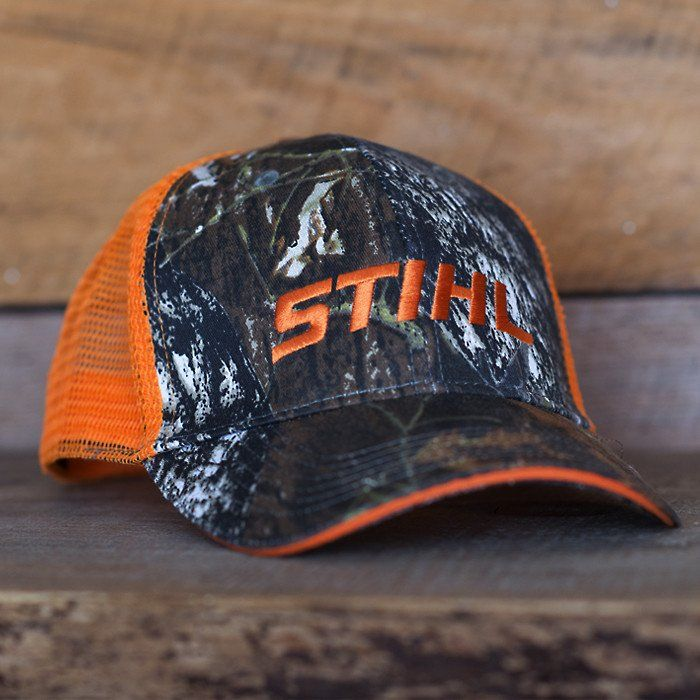 STIHL camo hat with Orange mesh