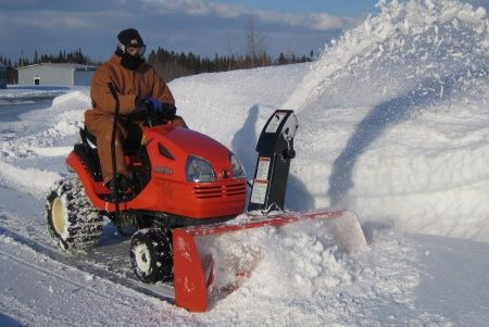 Equip your mower with accessories to move snow