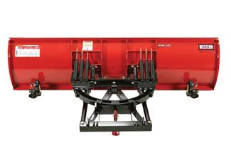 """Western 10' Heavyweight plow - Six vertical ribs provide structural reinforcement. Adjustable cast iron disc shoes and a ½"""" x 6"""" high-carbon steel cutting edge are standard"""