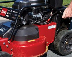 Heavy-duty 2-point Height of Cut (HOC) system makes it easy to adjust deck height. No need to walk around the mower to adjust four different levers.