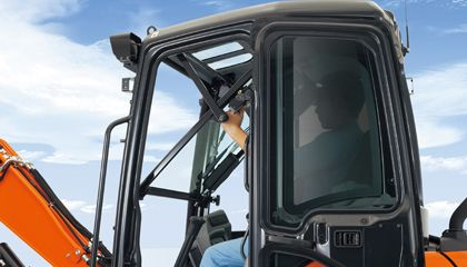 Easy open front window - Unlike many excavator windows, the front glass window of the U35-4 opens with ease. Just flip the latches on the window sides and slide it up. A gas-assist mechanism makes this action almost effortless.