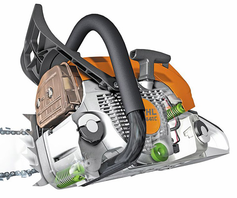 STIHL has developed an effective anti-vibration system whereby the oscillations from the machines engine are dampened which significantly reduces vibrations at the handles.