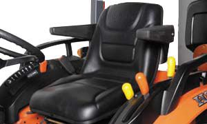 The new suspension seat is designed to absorb shock reducing operator fatigue. Arm rests are standard