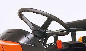 To provide a more comfortable driving position, the steering wheel tilts upward and downward.