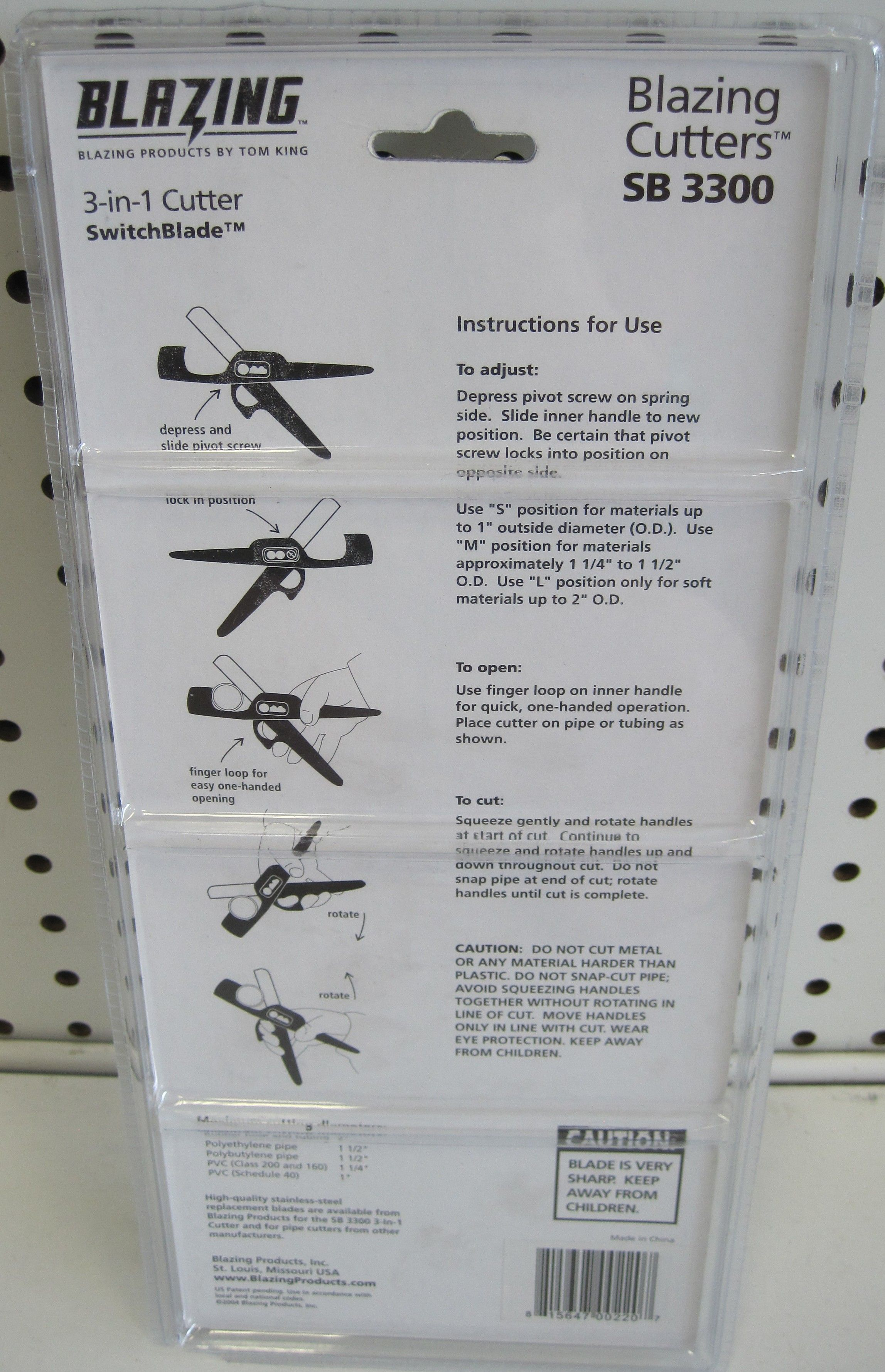 safety instructions on the Blazing 3-in-1 cutter