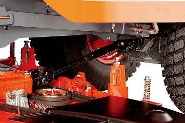 The durable shaft drive delivers power smoothly from the mid-mount mower. Unlike belt drives, there isno slippage and maintenance is minimal.