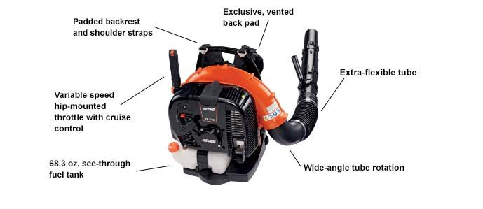 ECHO PB-770H backpack blower showing specs