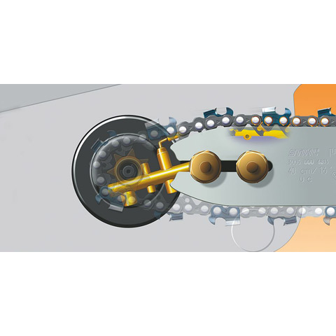 Ematic Lubrication System > The Ematic™ guide bar when used with STIHL OILOMATIC® saw chain will provide proper lubrication and less oil consumption than conventional methods. Can reduce bar oil consumption by 50%