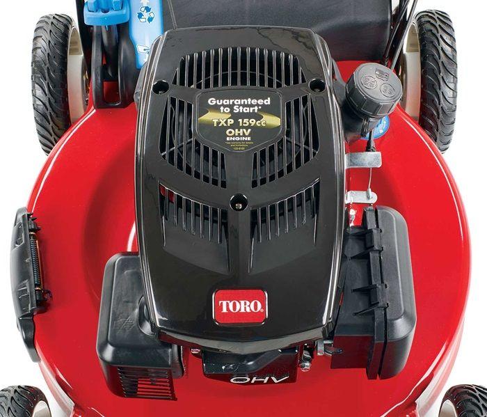 Toro's premium overhead valve engine is powerful and efficient.