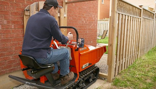 Kubota KC70 sqeezes through even the smallest of openings with an overall width of 34 inches