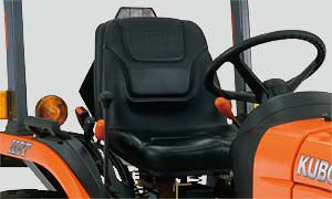 Kubota's seat provides ample back and lumbar support, improving operator comfort during long hours of operation