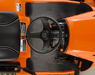 Full-flat operators platform offers ample floor space and legroom making getting on and off the mower easy.