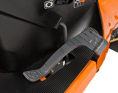 A single pedal controls speed and direction changes quickly, without shifting or clutching. This system keeps your hands free for precise steering at all times, especially when working in confined spaces.