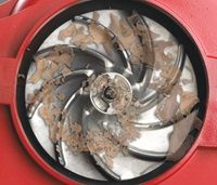 Metal Impeller - The metal blades on the impeller shred leaves and debris into fine mulch