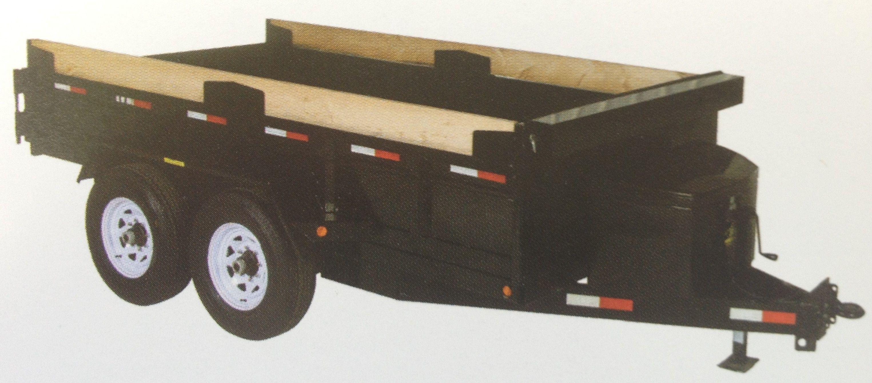 Medium Duty Dump Tandem Trailer MDD612 with 3' high sides by JDJ (6' W x 12' L)