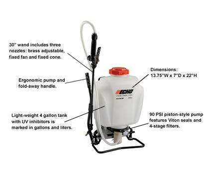 ECHO MS-41BP sprayer with descriptions