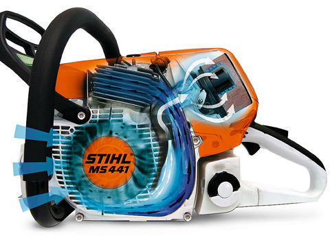 STIHL long-life air filtration systems with pre-separation achieve perceptibly longer filter life compared with conventional filter systems. Air drawn in is swirled. The larger, heavier particles are ejected. The pre-cleaned air is routed to the air filte