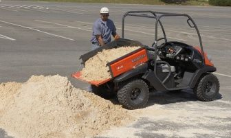 Cargo bed hauls up to 441lbs of dirt, gravel, rocks, hay or whatever will fit. The bed is counter balanced allowing for easy manual tilting to dump or unload your cargo easy