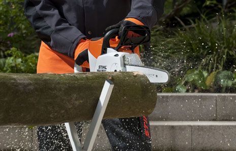 Innovative and surprisingly powerful STIHL Lithium-Ion battery-powered chain saw.