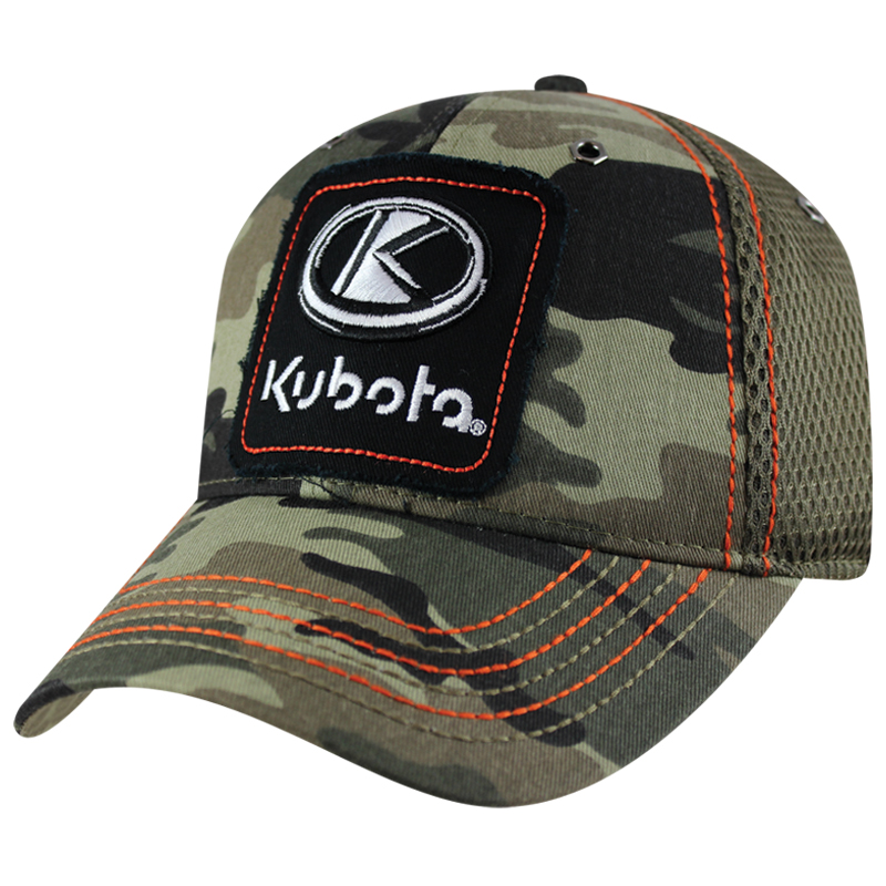 Kubota Frayed Applique Camo Mesh Back Hat