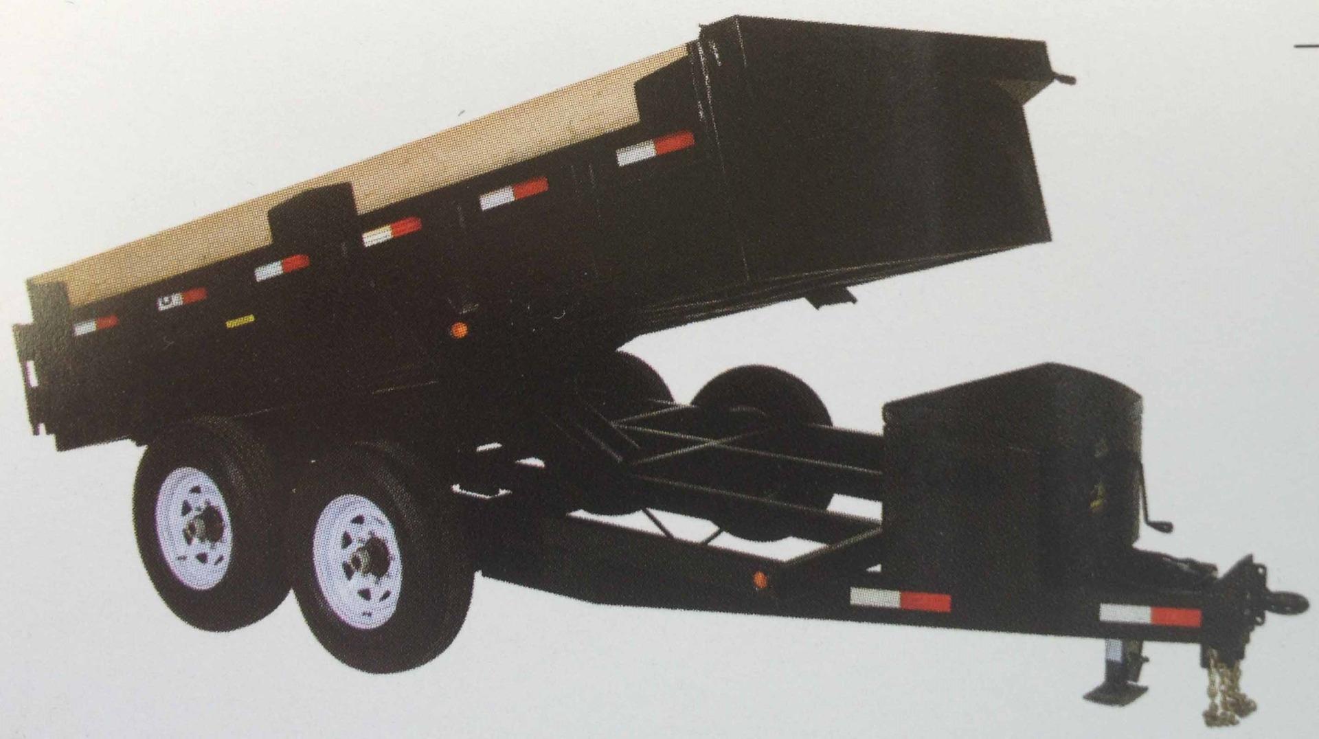 JDJ Medium Duty Dump Tandem Trailer MDD612-2 with 2' high sides (6' W x 12' L)